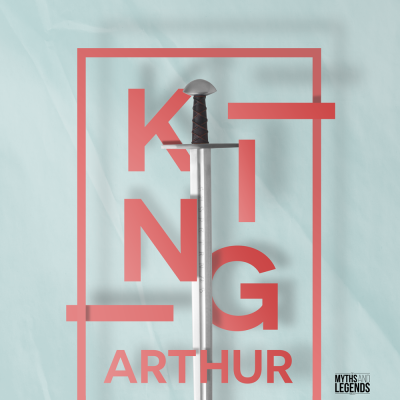 A graphic with a sword in the center, spelling out king in red letters of varying depths around the sword. The word Arthur is at the bottom in red, and it's on a blue paper background.