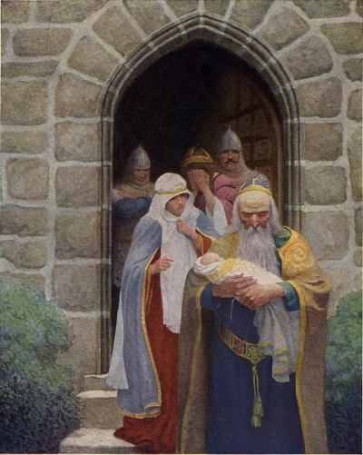 Merlin rushes King Arthur as a baby away from Igraine and Uther