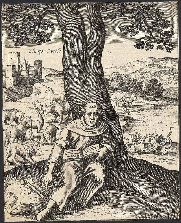 Merlin in a sepia-toned drawing from the 1600s sitting in front of a tree